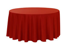 YCC Linen - 120 inch Round Polyester Tablecloth Dark Red