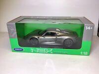 🔥Welly NEX 1:18 Porsche 918 Spyder Gray VHTF  NICE BEST PRICE!