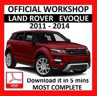 OFFICIAL WORKSHOP Manual Service Repair LAND ROVER EVOUQUE 2011 - 2014
