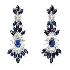Große Ohrringe Saphir blau & CZ 925 Silber 585 Weißgold vergoldet