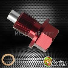 Red ANODIZED ALUMINUM Magnetic Oil Drain Plug BOLT w/ Washer M14X1.5mm Honda