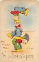 A75/ Die-Cut Stand-Up Valentine's Day Holiday Postcard 1918 Benjen Signed 7