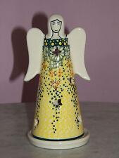 UNIKAT Polish Pottery Large Angel Tea Light! Miss Daisy Pattern!