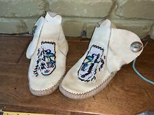 Guilfair Guilmox 9.5 Vintage White Smooth Leather Beaded Indian Ankle Moccasins