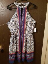 Dress, low back, sleeveless, red, blue white, medium