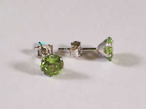 New Boxed Ladies 9ct 9Carat White Gold Peridot Studs Earrings 5mm Hallmarked