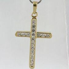 18k Yellow Gold Cubic Cross Pendant, 3.1cm (Beautiful New, 2.80g) #1294