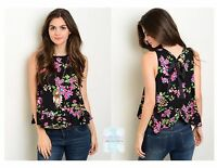 Women Peasant Top Blouse Shirt Top Floral Casual Sleeveless Black Fitted Cute