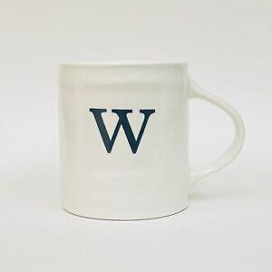 "Williams Sonoma Ironstone Letter W Monogram White Black Coffee Mug HTF 4.25"""