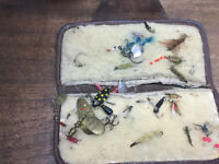 VINTAGE COLLECTION of FLY FISHING FLIES & LURES in OLD LEATHER CASE