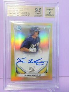 2014 BOWMAN CHROME PROSPECTS GOLD REFRACTOR #/50 AUTO TUCKER NEUHAUS BGS 9.5 GEM
