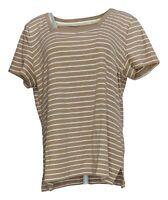 Isaac Mizrahi Live! Women's Sz L Square Neck Short Slv Print Top Brown A378114