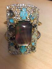 Alexis Bittar Gold Elements Encrusted Mosaic Cuff Bracelet.