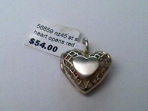 Sterling Silver heart with  Red centre charm/ Pendant New RRP $50