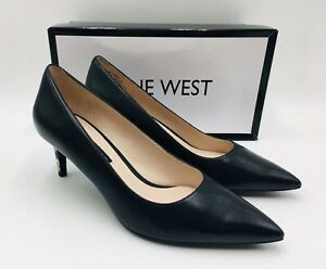 Nine West Women's Soho Pointed Toe Classic Pumps Black Leather, MSRP $89
