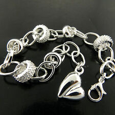 457 GENUINE REAL 925 STERLING SILVER SF SOLID LADIES HEART CHARM BRACELET BANGLE