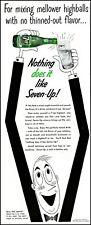 1955 7 Up cola soda highball mixer bottle glass comic vintage art Print Ad adL66
