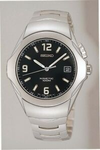 Seiko mens watches black dial kinetic case stainless steel casual model SKA073P1