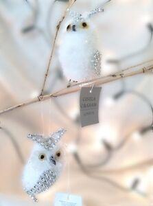 Gisela Graham Christmas White Plush Diamanté Owl Tree Decoration Glittered