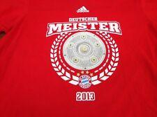 Adidas FC Bayern Munchen Munich Deutscher Meister 2013 T shirt Red Large Tee  V9