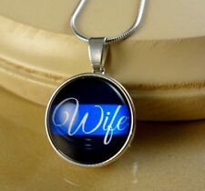 POLICE WIFE Blue line SNAP BUTTON CHARM PENDANT W/ Steel Necklace jewelry women