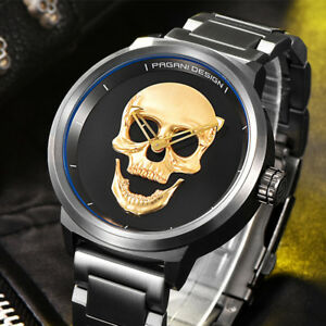 MEN'S 3D SKULL WATCH, PAGANI DESIGN, STAINLESS STEEL, GOTH, JEWELRY, USA FAST