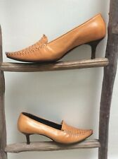 Patrick Cox Wannabe tan woven pointed toes court shoes size 38/5 all leather