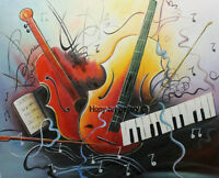 Modern Handmade Music Abstract Oil Painting on Canvas Living Room Wall ART H2179
