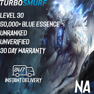 NA League of Legends Account NA Level 30 Unranked & Unverified Smurf 50,000+ BE
