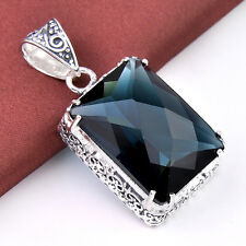 Rectangle London Blue Topaz Gemstone Vintage Silver Necklace Pendants