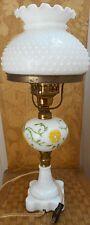 MILK GLASS HURRICANE HOBNAIL LAMP HANDPAINTED-W/WIRING~AMERICANA C1948 *CHARM