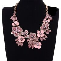 Fabulous Retro Vintage Style Pink Clear Rhinestone & Glass Necklace