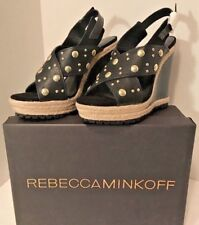 Rebecca Minkoff Kimiko Black Leather Stud Wedge Sandals Sz US 9M NIB Orig $294