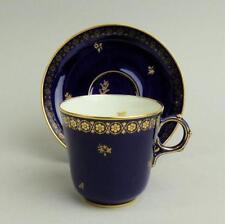 Antiguo De Exquisita Porcelana Sevres Dore Azul Cobalto Copa Y PLATILLO C.1850