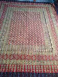 Blue Ajarakh Kantha Quilt Indian  Bed Cover Floral Print Throws Queen  Bedspread