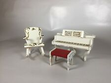 Lundby dollhouse piano, rocking chair, stool, vintage rococo style