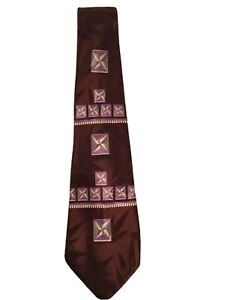 1940s Vintage Men's Burgundy and Lavender Tie by Creveling of California