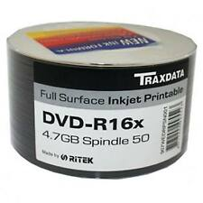 50 PACK TRAXDATA DVD-R 16X SPEED FULL FACE INKJET PRINTABLE 4.75GB BLANK DISCS
