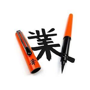 Pentel Refillable Pocket Brush Pen - with 2 Black Ink Cartridges - Orange Barrel