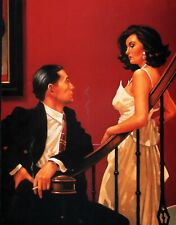 "JACK VETTRIANO BOOK  PRINT ""ONE MOMENT IN TIME"" COUPLE ON STAIRS WOMAN IN WHITE"