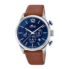 Reloj Lotus Cronógrafo Hombre Esfera azul Correa piel marrón 18689/1