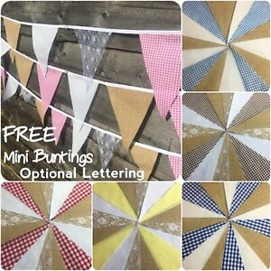 Hessian Fabric Bunting Gingham White Lace Wedding Fete Barn Rustic Country Chic