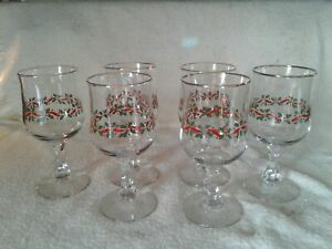 6 Vtg 1985 Arby's Christmas Holly Berry Glasses Wine Goblet Gold Rim Libbey
