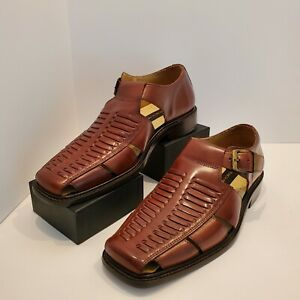 Stacy Adams Mens Fisherman Sandals Size 8M Cognac Handcrafted Shoe M23980 03 NWT
