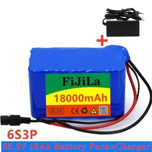 24V 18Ah Battery 25.2v 18000mAh Lithium Electric Bicycle Battery Pack + Charger