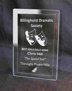 Personalised Glass Plaque Theatre Drama Society Award