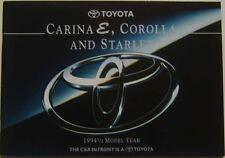 Toyota Range Starlet Corolla Carina E 1994-95 original UK Sales Brochure