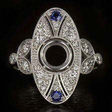 EDWARDIAN G VS ROUND DIAMOND NATURAL SAPPHIRE PLATINUM ENGAGEMENT RING SETTING