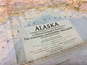Large Vintage Map Of Alaska - National Geographic 1956