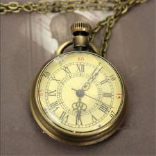 Fashion Antique Bronze Glass Steampunk Pocket Watch Chain Necklace Pendant Gift